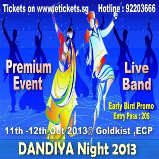 Dandiya in Singapore 2013 celebrating Navratri 2013 on 11th and 12th Oct 2013