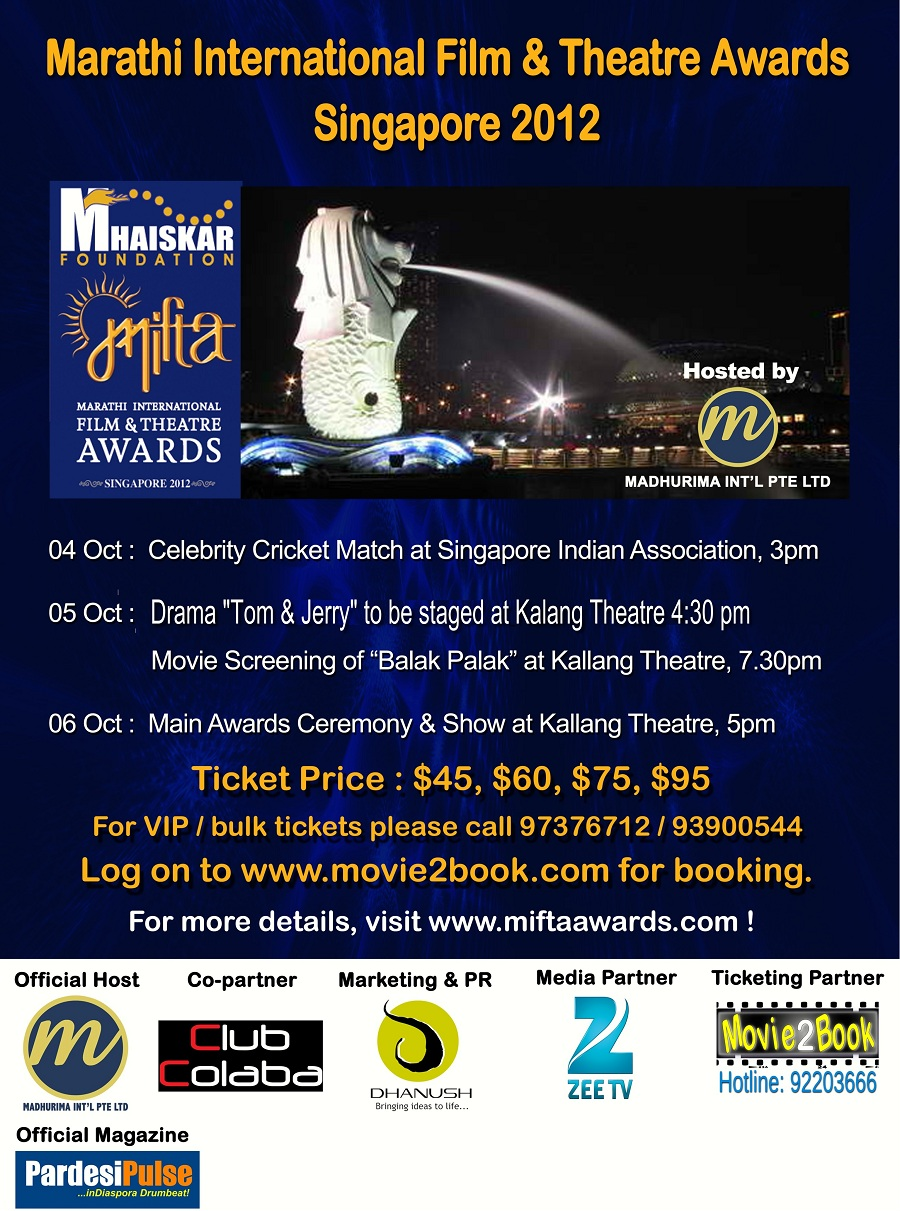 Mifta 2012 - Marathi International Film and Theatre Awards 2012 4th to 6th Oct 2012 tickets at www.movie2book.com