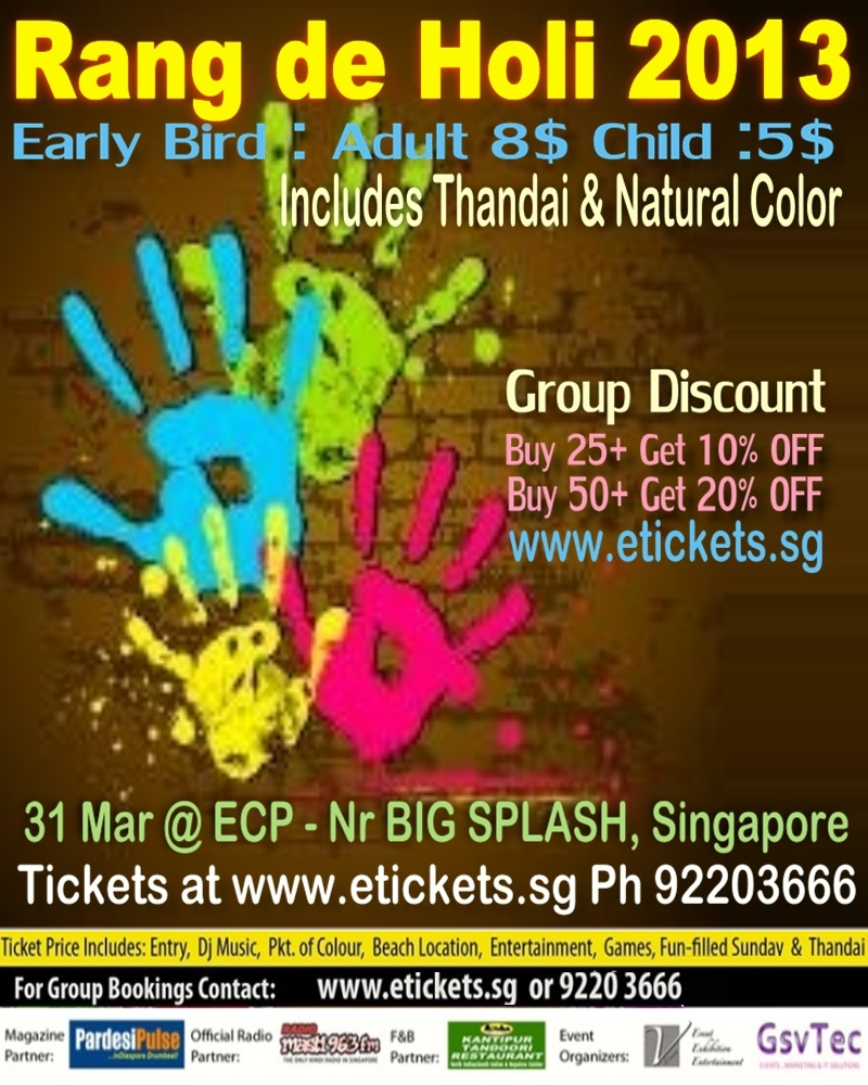 rang de holi 2013 in Singapore at ECP on 31st Mar 2013..biggest holi event in singapore
