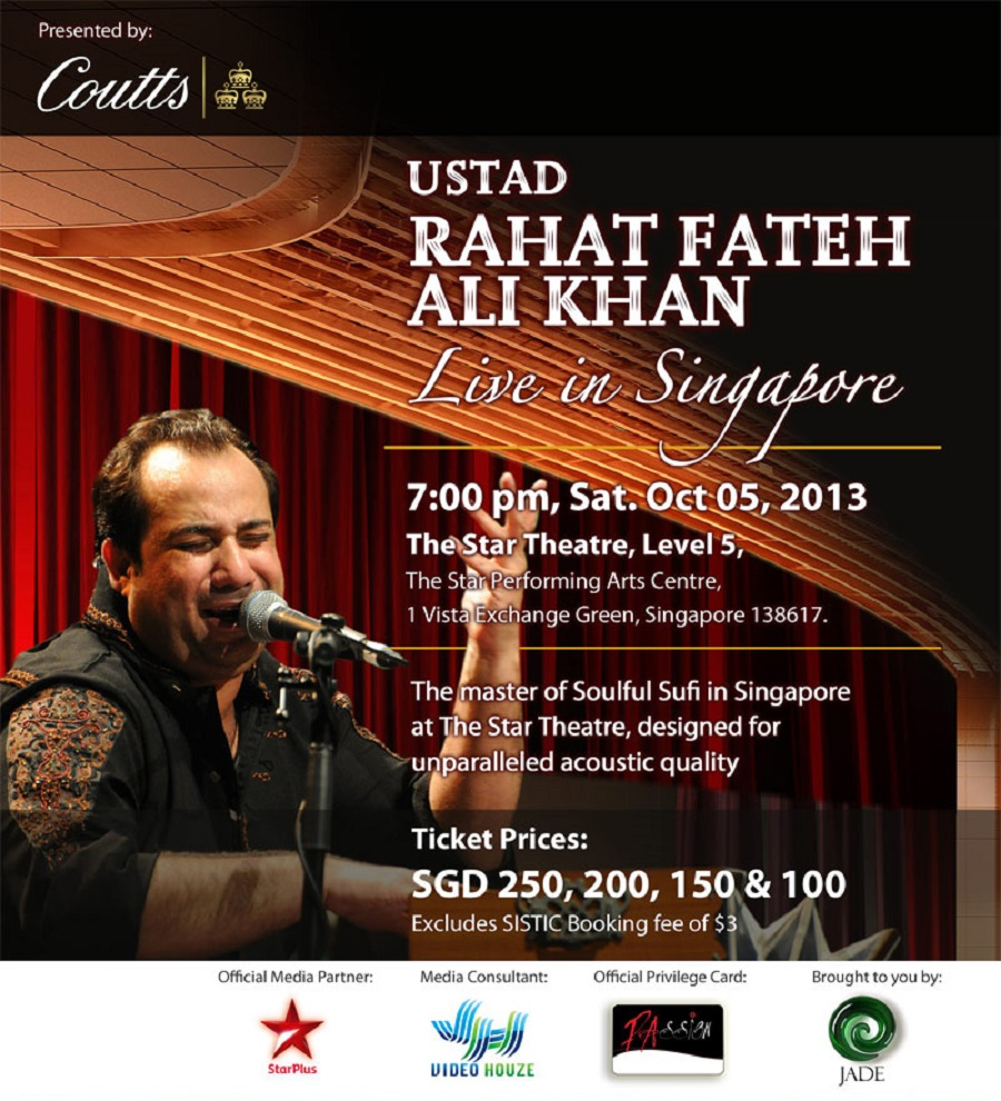 rahat fateh ali khan in Singapore,rahat live in concert