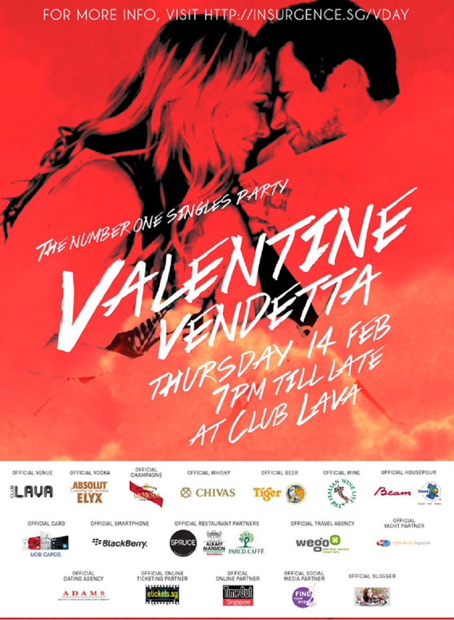 Valentine Vedentta an number one singles party in Singapore this Valentines day